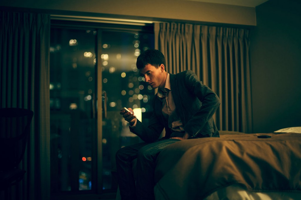 Man in hotel room
